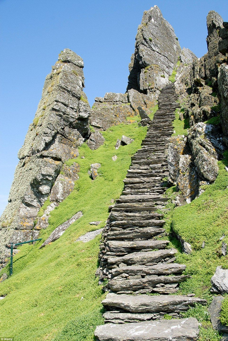 """"""" Skellig Michael Island in Ireland. There's 600 steps up here to the ancient monastery. """""""