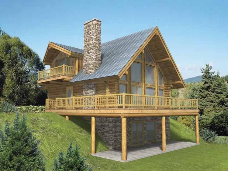 Log Style House Plan 3 Beds 3 Baths 2057 Sq Ft Plan 117 318 Log Cabin House Plans Basement House Plans Cabin House Plans