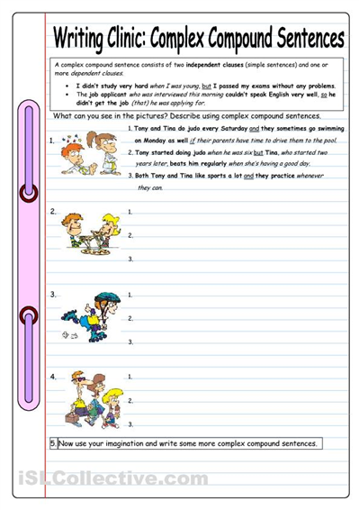 Worksheets Compound Complex Worksheet simple compound complex sentences mini posters practice like this way of turning into more sentences