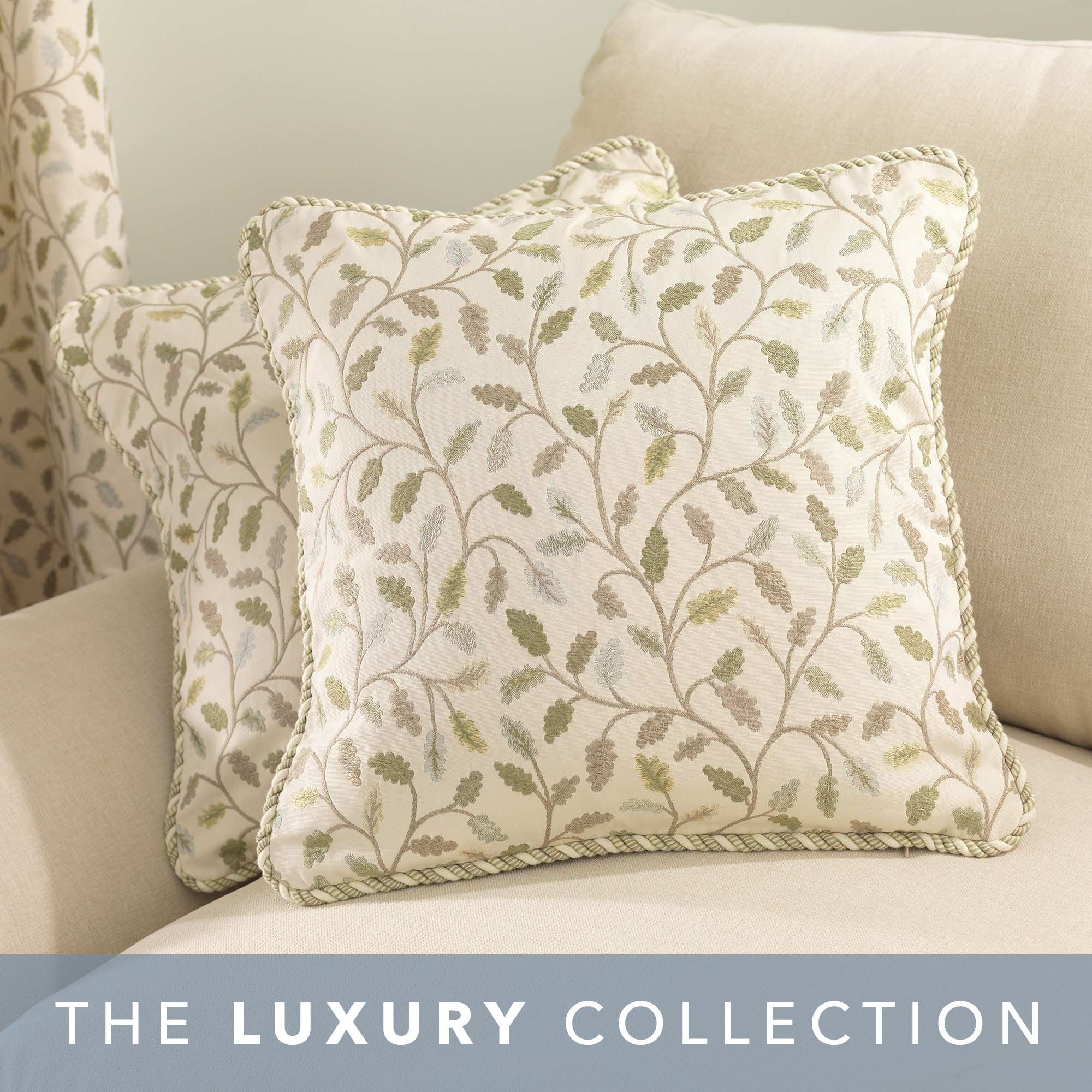 """Modern Contemporary Style Cushion Cover 16"""" John Lewis Fabric Leaf Design Mint"""