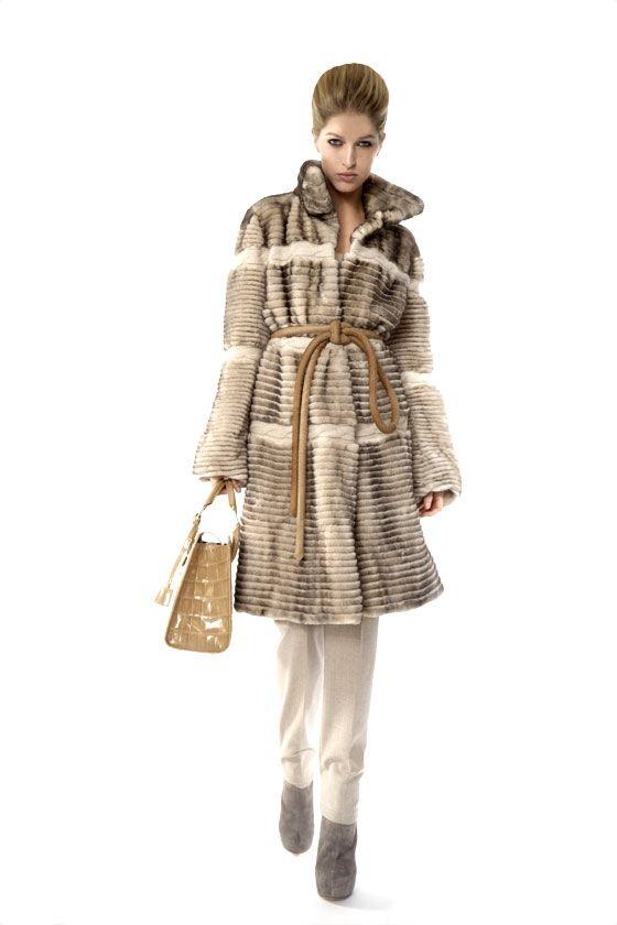 Dennis Basso Sheared & Grooved Mink Fur Coat