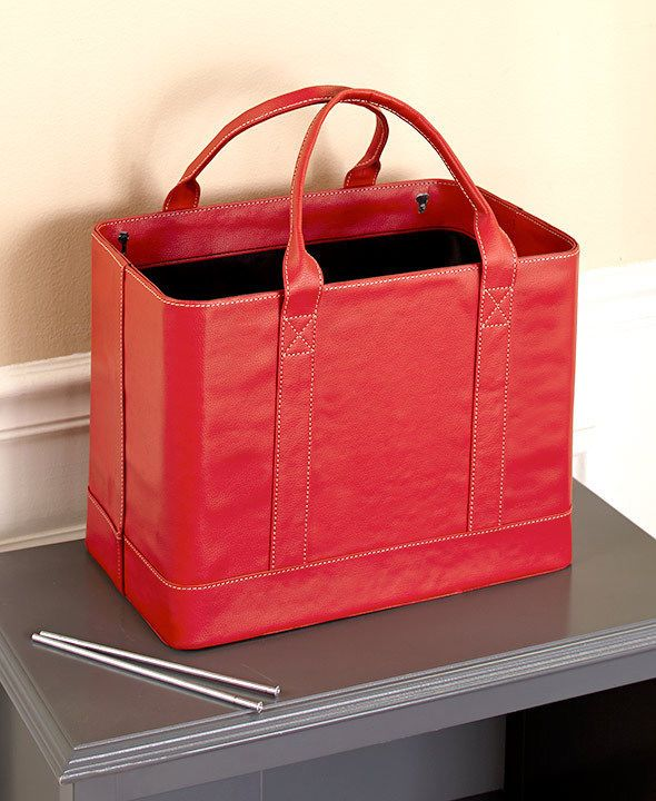 Women S Chic Faux Red Leather Portable Hanging File Folder Carrier