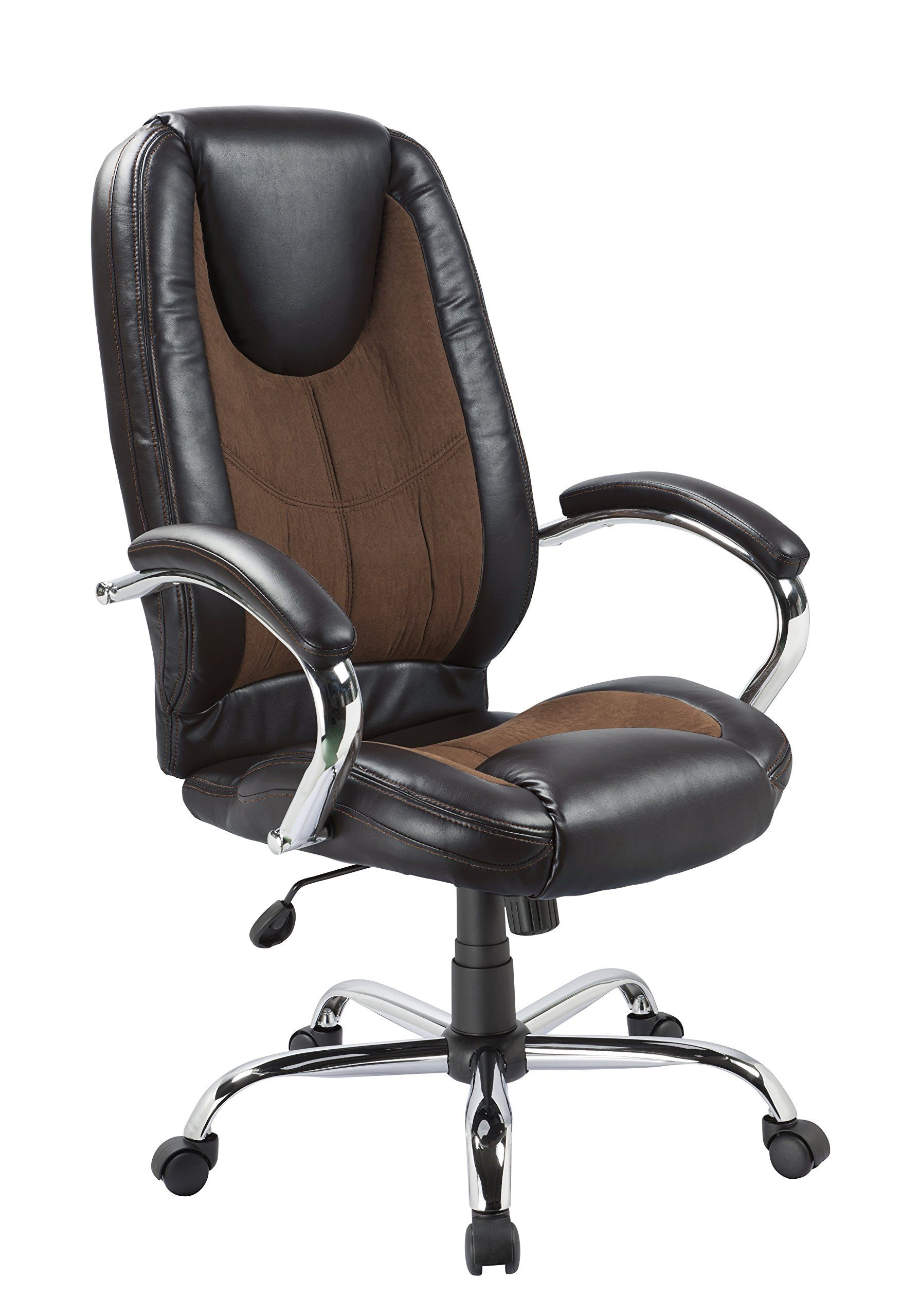Office Factor Black Pu And Brown Microfiber With Contrast Sching Ergonomic High Back Executive Managerial Chair Padded Arms Swivel Lumbar Support