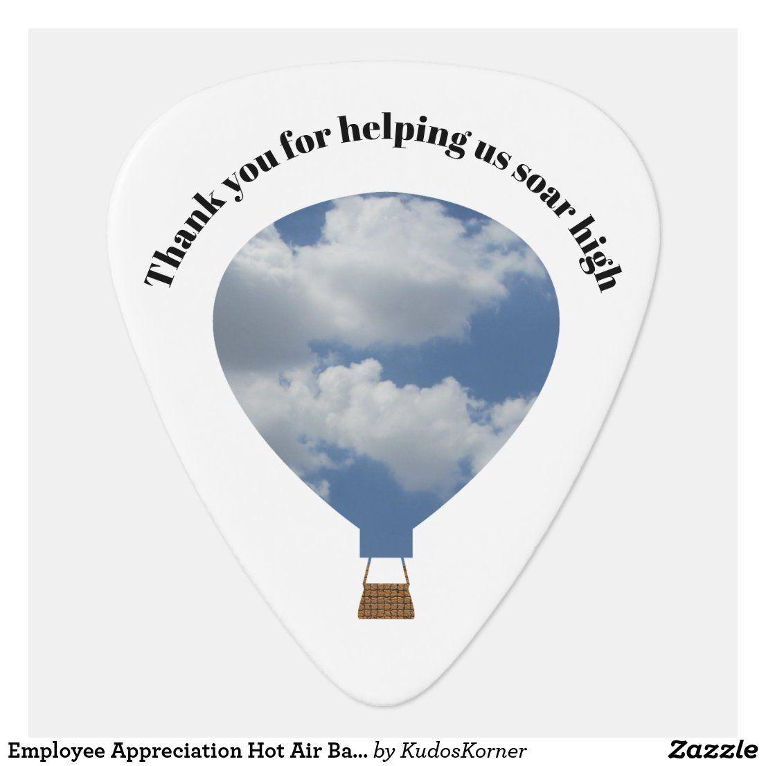 Employee Appreciation Hot Air Balloon Thank You Guitar Pick | Zazzle.com
