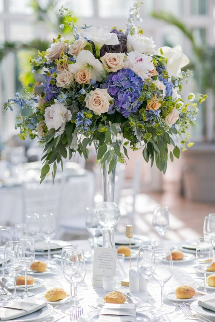 Modern Romantic Lavender And Blue Wedding Centerpieces Pinterest