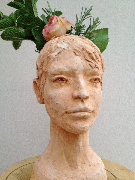 Head Planter Girl   Pot Sculpture   Garden Staute   Bust Of Woman   Art