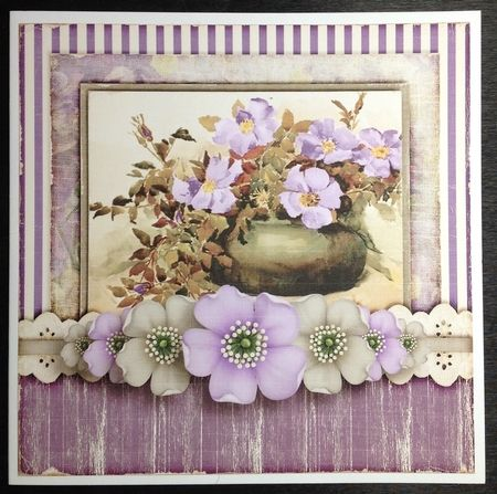 This beautiful kit was printed out on to a combination of smooth card and photo paper. The main topper and insert were attached to a white 8 x 8 card, then the shaped decoupage was added using pinflair glue.
