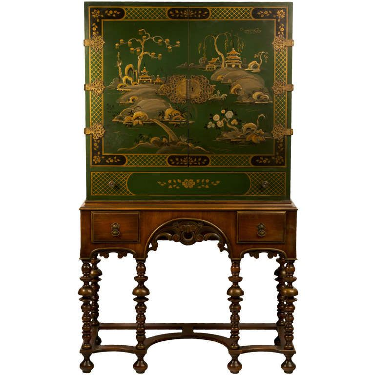 Green Lacquered Chinoiserie Cabinet on Stand Antique Furniture