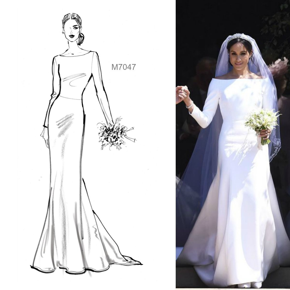 Markle Wedding Dress.Sew The Meghan Markle Wedding Gown Look Tm You Can Quickly Make A