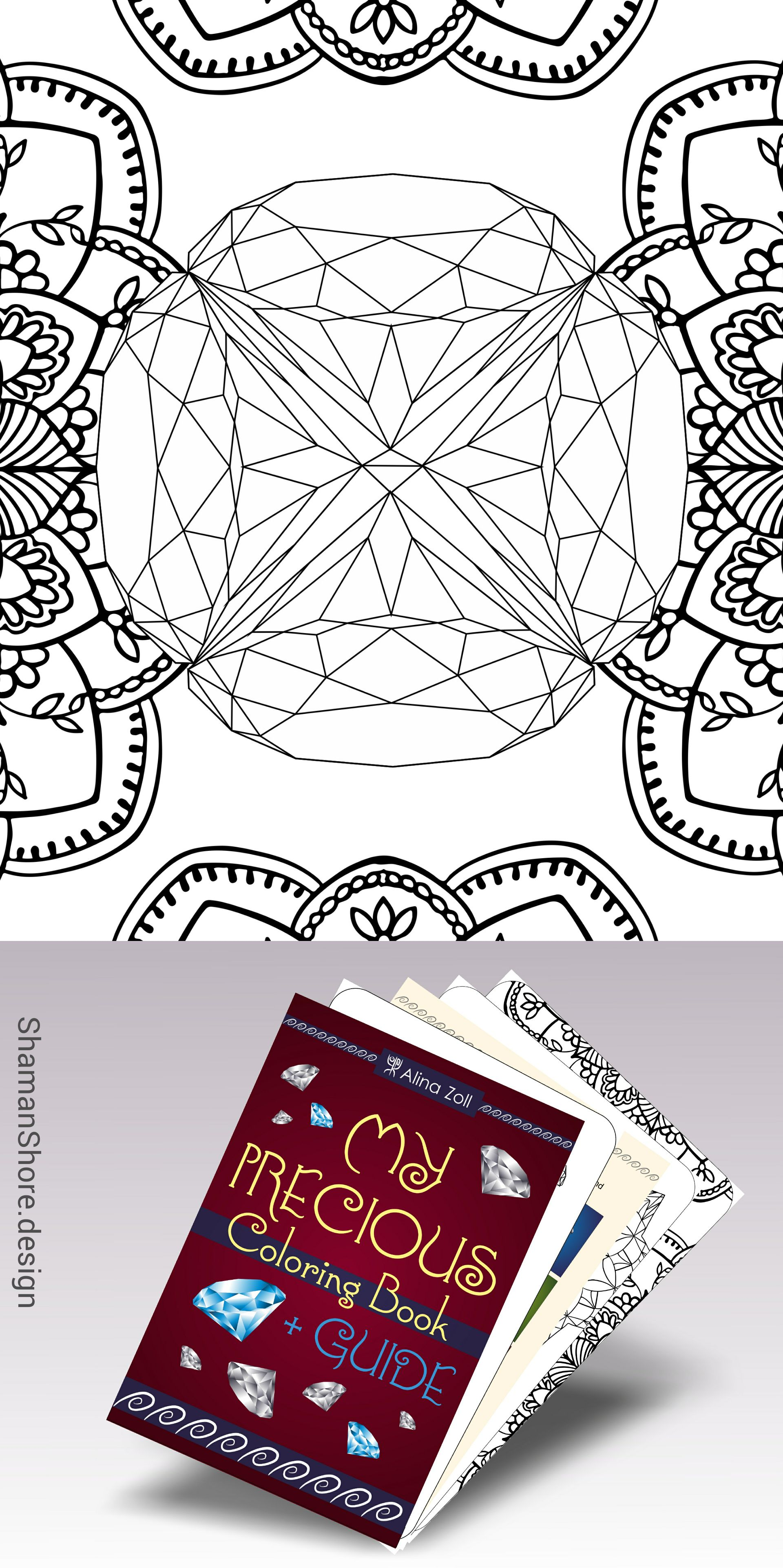 Printable Gemstone Coloring Pages For Grown Ups Diamond Tutorial Adult Book On Etsy ShShPrintables