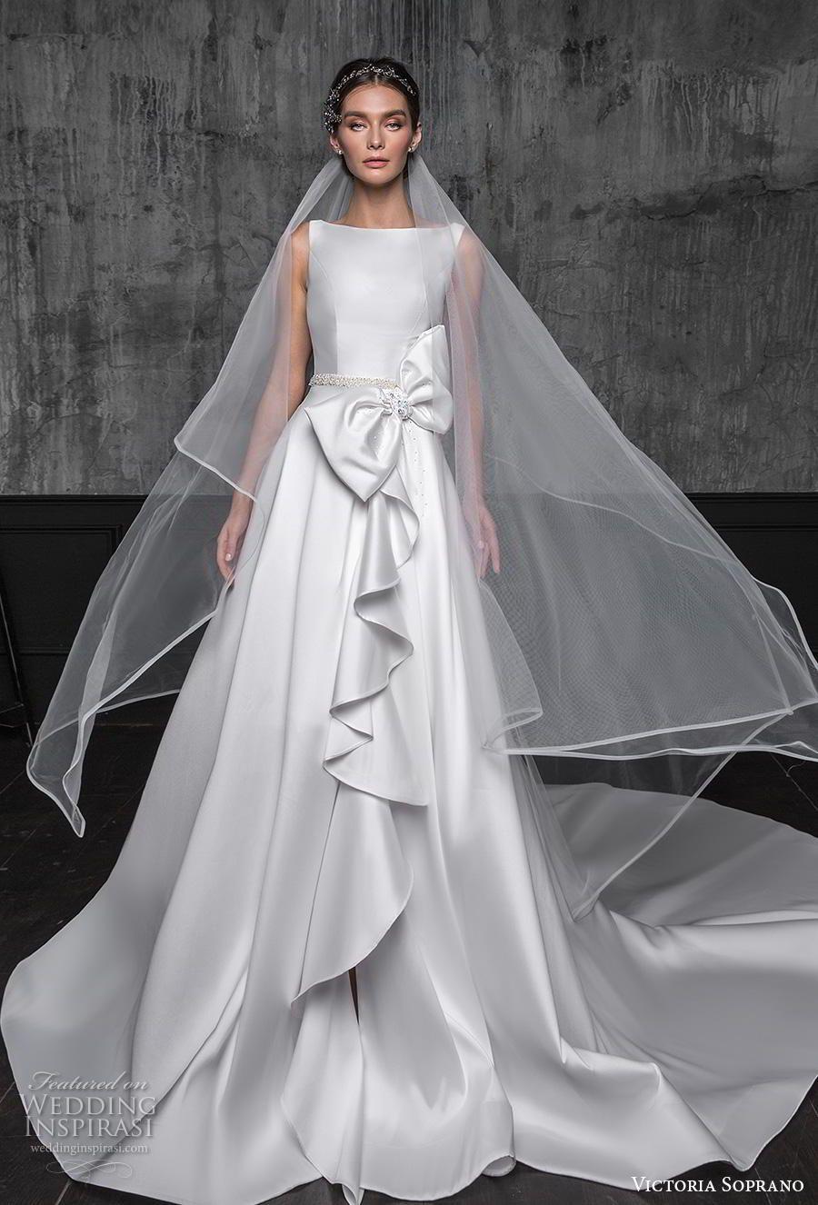 634e99814d86 victoria soprano 2020 bridal sleeveless bateau neck simple clean minimalist  ribbon waist elegant a line wedding