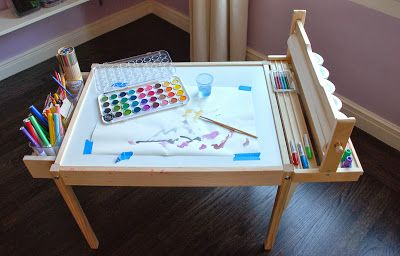 design ingenuity diy kids craft table latt hack with paper roll holder mounted along side. Black Bedroom Furniture Sets. Home Design Ideas