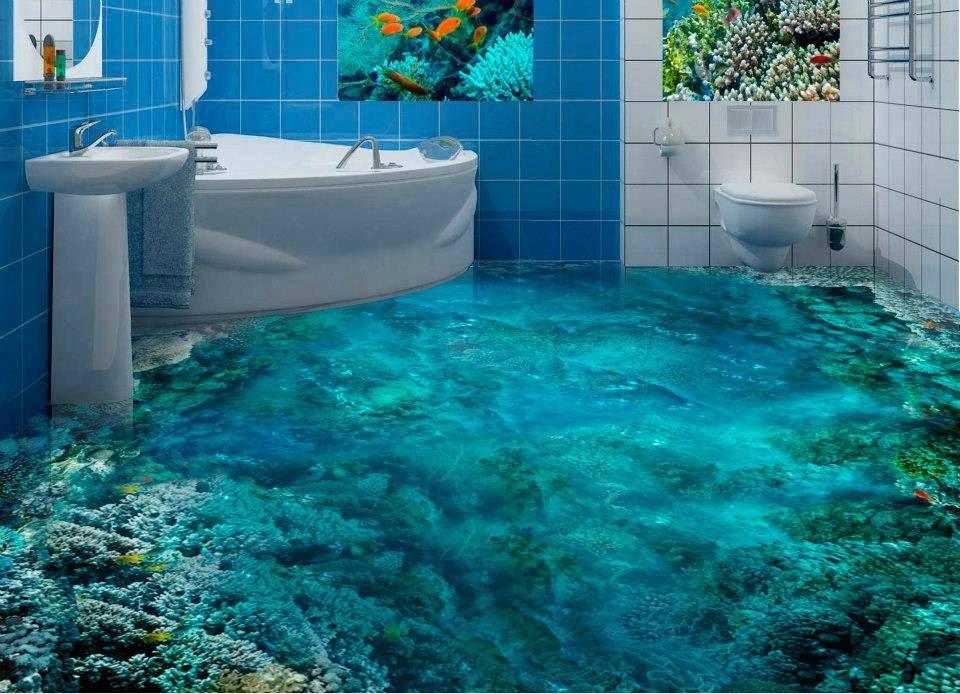 revêtement-sol-résine-aspect-3D-fond-marin | Deco en 2019 | Salle de ...