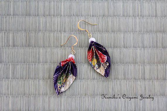 Origami Jewelry  Origami Leaf Earrings w/ Plated by KumikosOrigami