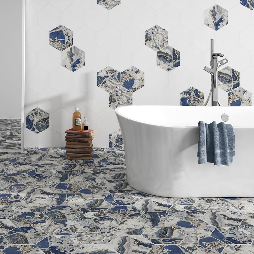 Merola Tile Agata Hex 8-5/8 in. x 9-7/8 in. Porcelain Floor and Wall ...