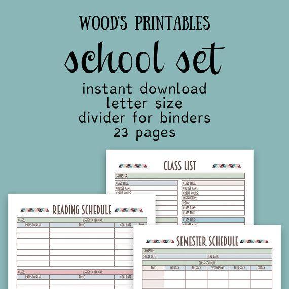School Planner PDF Printable; Binder Printables, Grade