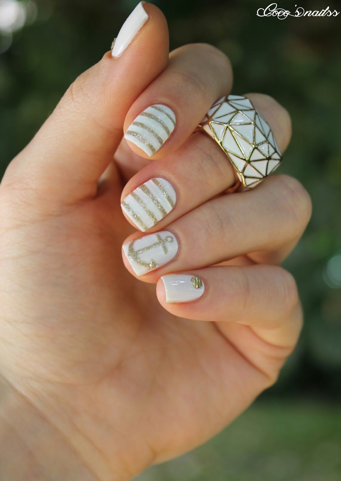 White Gold Simplicity Nails Pinterest Nautical Nails White
