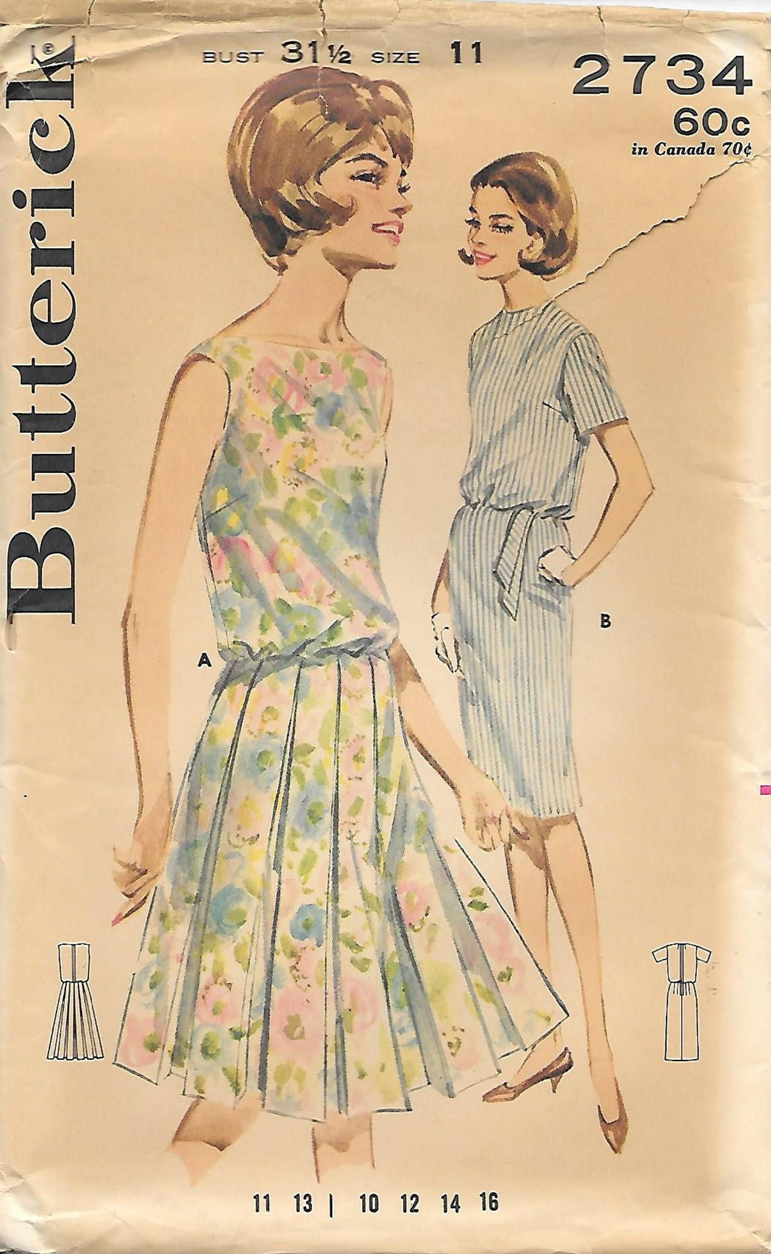 1960s Butterick 2734 Bloused Bodice Dress Vintage Sewing Pattern Bust 31 Sleeveless Pleated Skirt Uncut Ff In 2020 1960s Outfits Bodice Dress Vintage Sewing Patterns