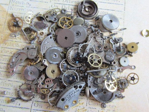 Vintage WATCH PARTS gears  Steampunk parts  WWW.steampunkjunk.etsy.com  #steampunk #artsupplies #gears #recycle