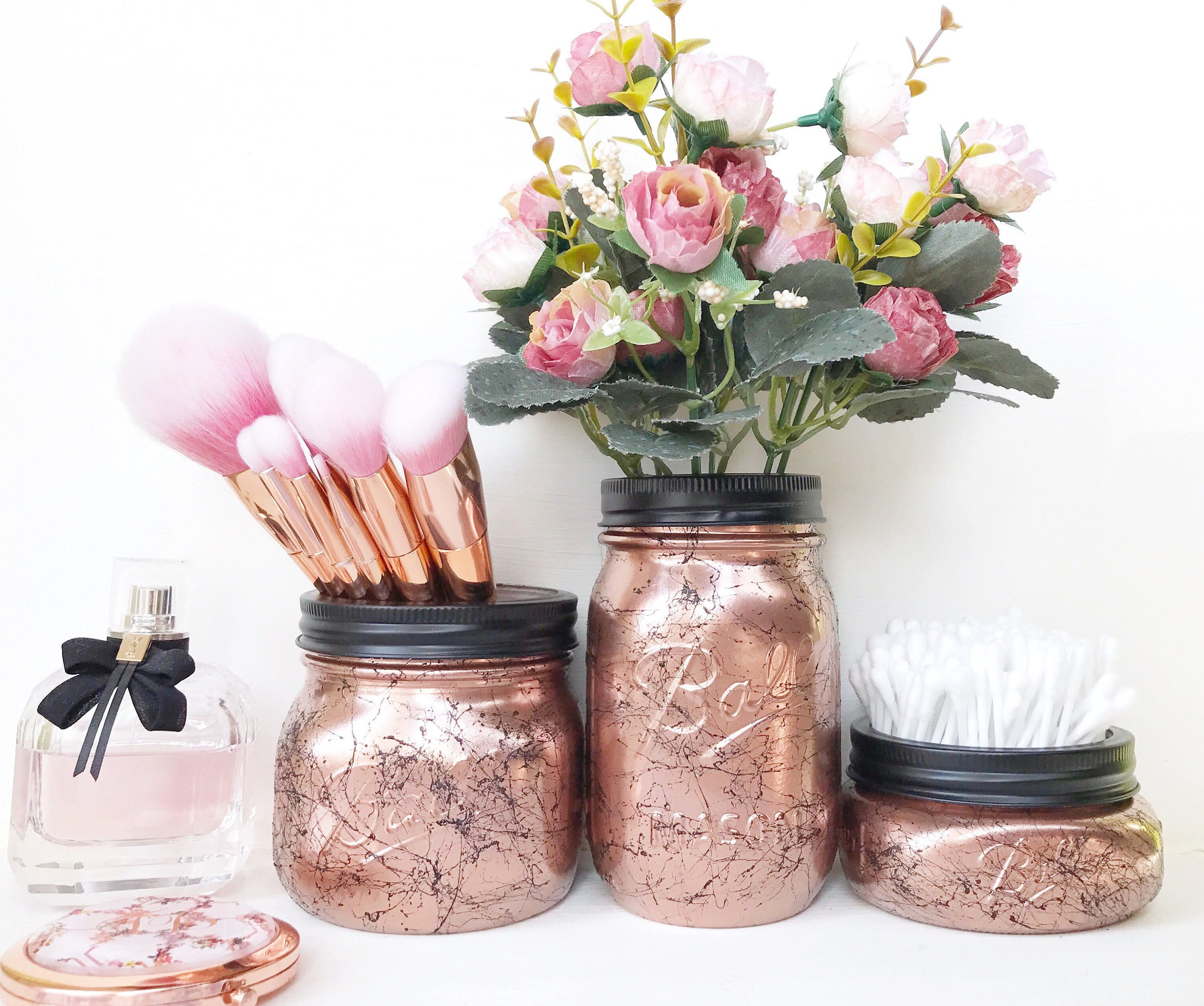 Copper Mason Jar, Rose Gold Dressing Table, Marble