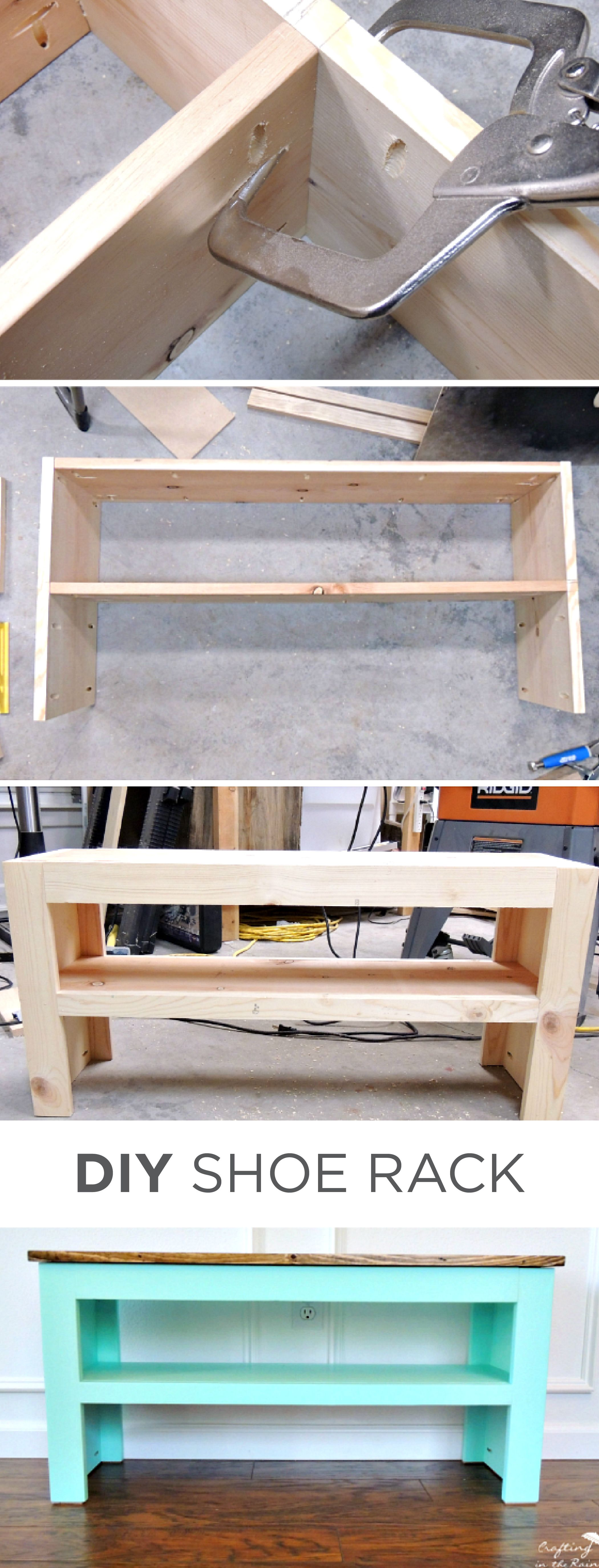 This DIY shoe rack from blogger Crafting