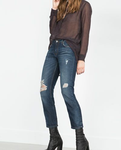 Image 4 of MID-RISE CIGARETTE JEANS from Zara