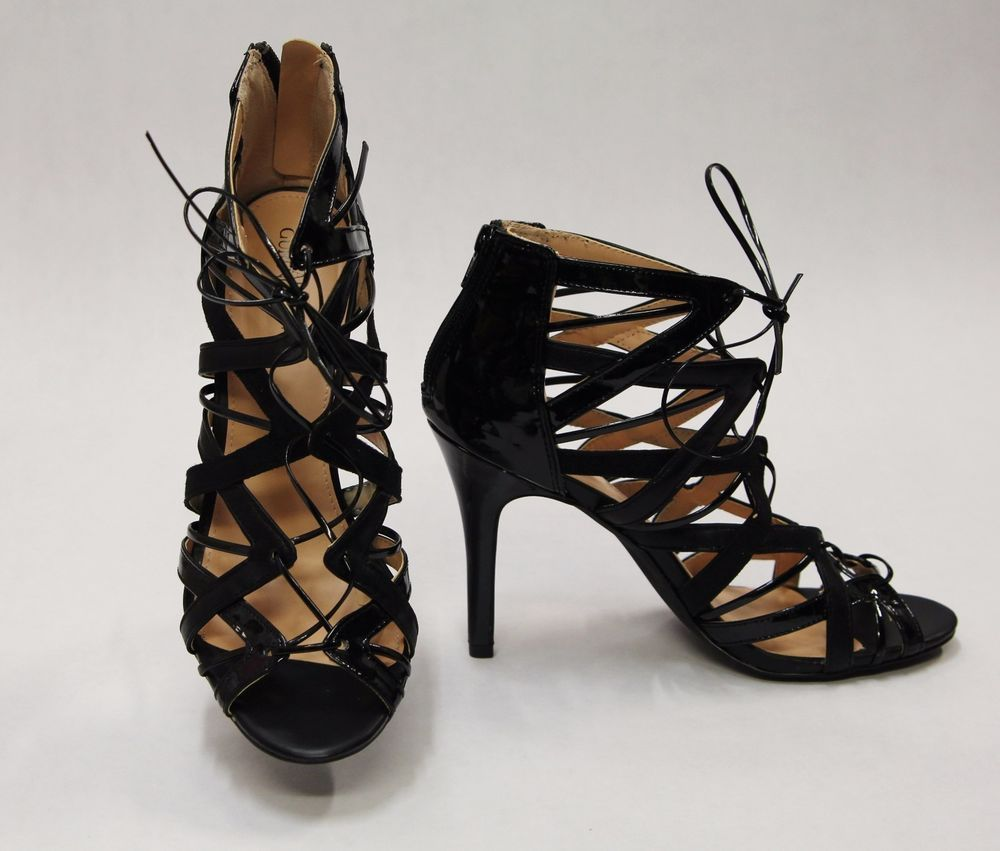 $24.99 PRABAL GURUNG for Target Black Cutout Strappy Open Toe Heels SZ 9.5 460393 #PrabalGurung #Strappy