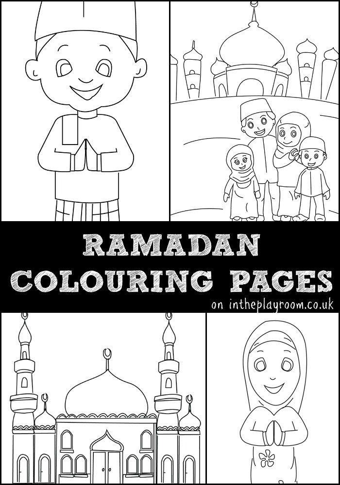 ramadan colouring pages featuring muslim children muslim family and mosque colouring pages free printables