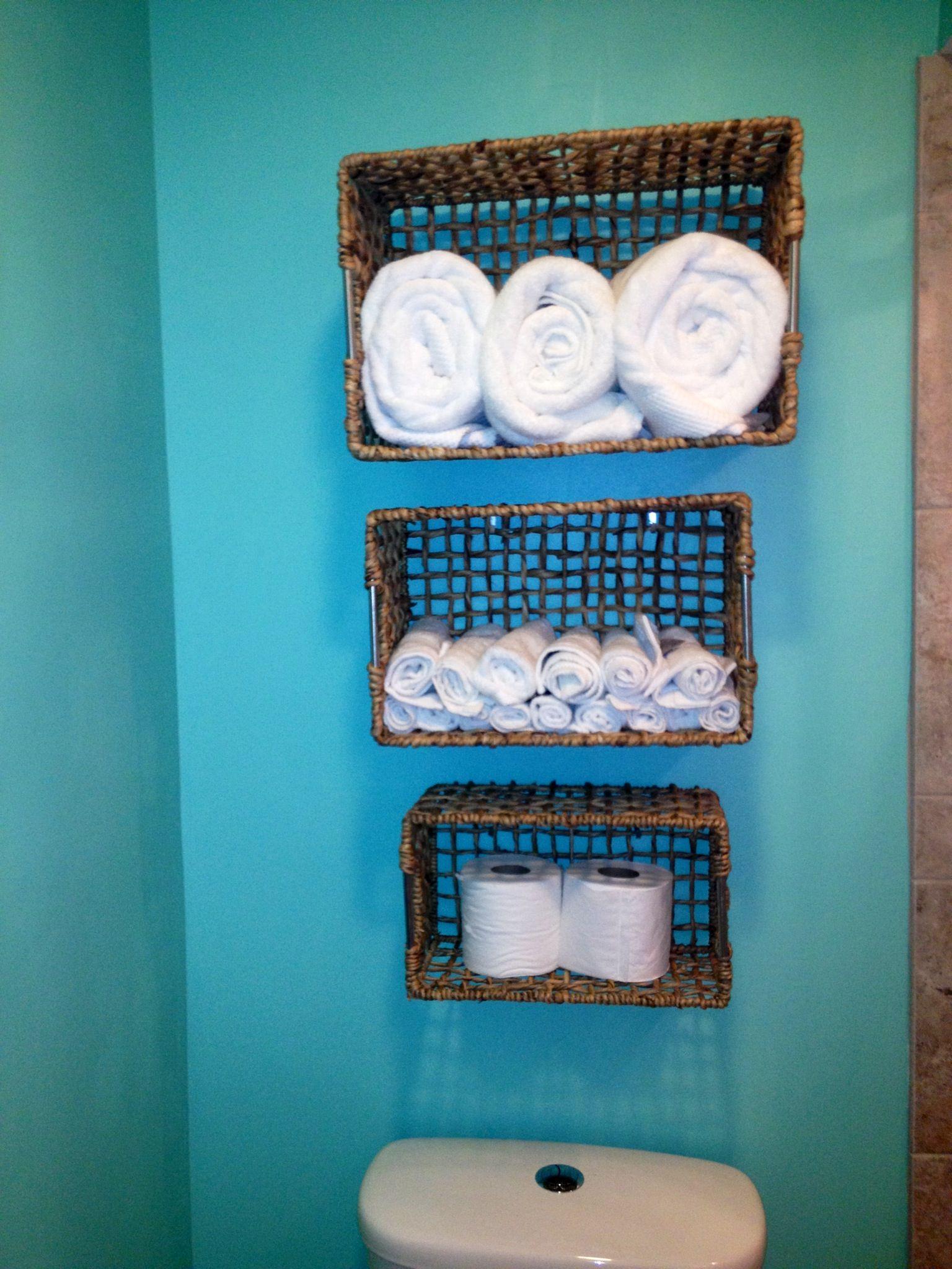 DIY Bathroom Storage! A Few 7 Dollar Baskets From TJ Maxx And Hooks!
