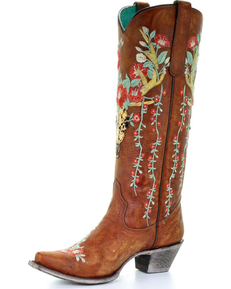 6fc8328f5f3 Corral Women's Deer Skull & Floral Embroidery Cowgirl Boots - Snip ...