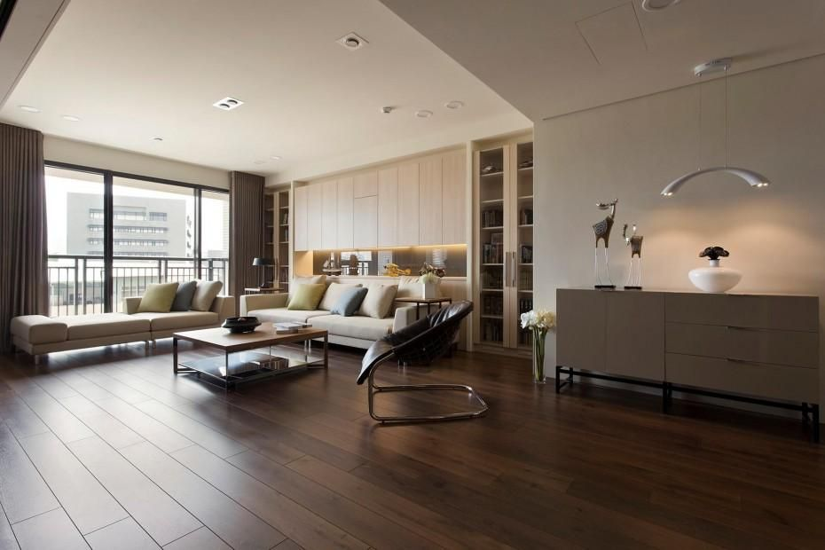 Marvelous Modern Large Living Room Decors With Grey Fabric Sofa And Square  Coffee Table Storage On Walnut Dark Hardwood Floors In Open Floor Plans  Interior ...