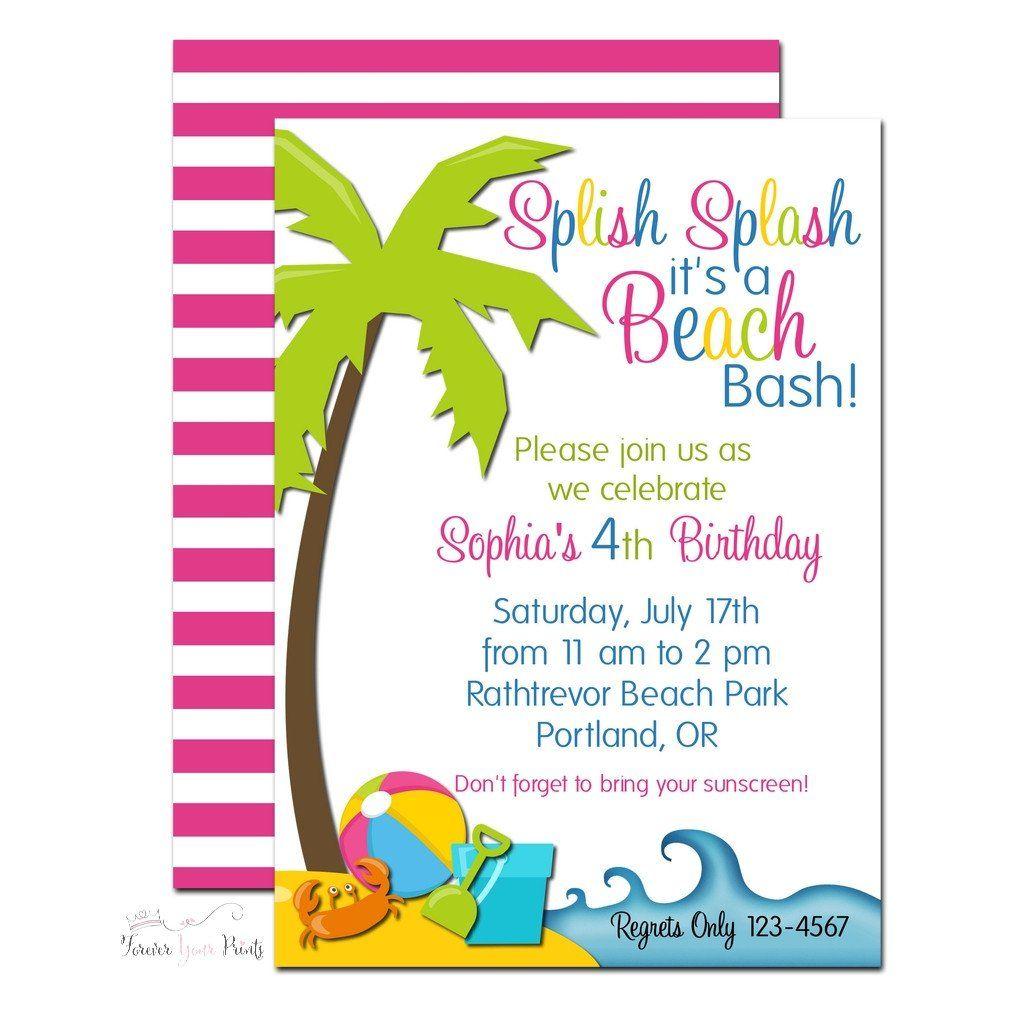 Summer Beach Party Invitation | Beach party invitations, Summer ...