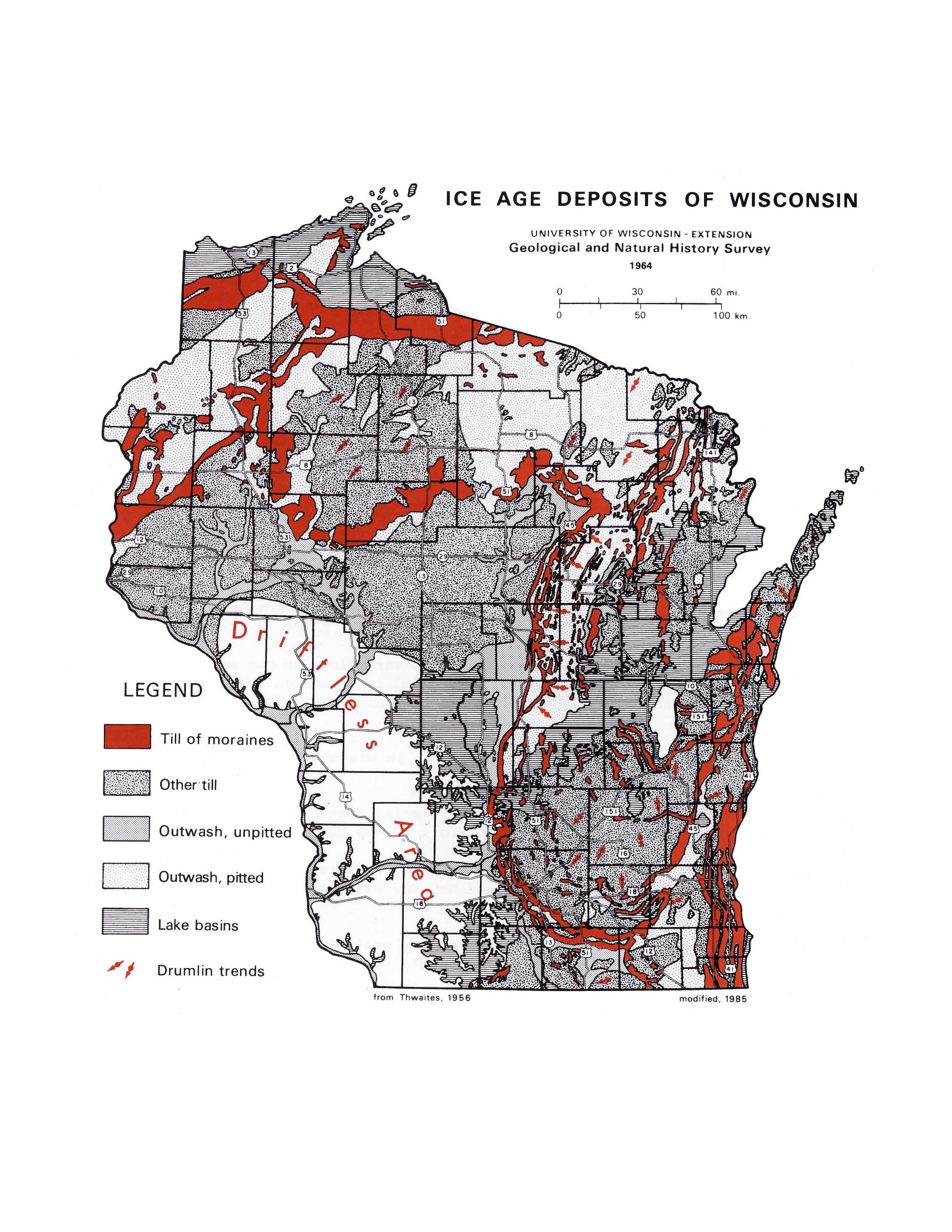 Map Of The Day July 9 Ice Age Deposits Of Wisconsin 1954