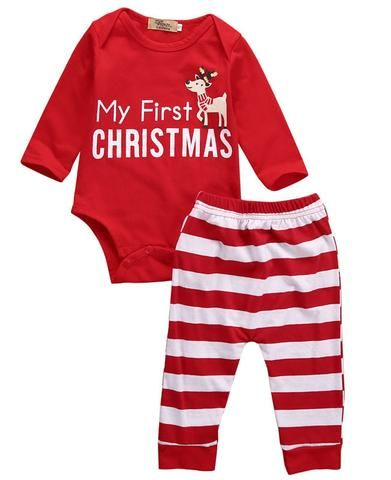 92ef4d044c13 2pcs My First Christmas Newborn Baby Girls Boys Long Sleeve Romper + ...