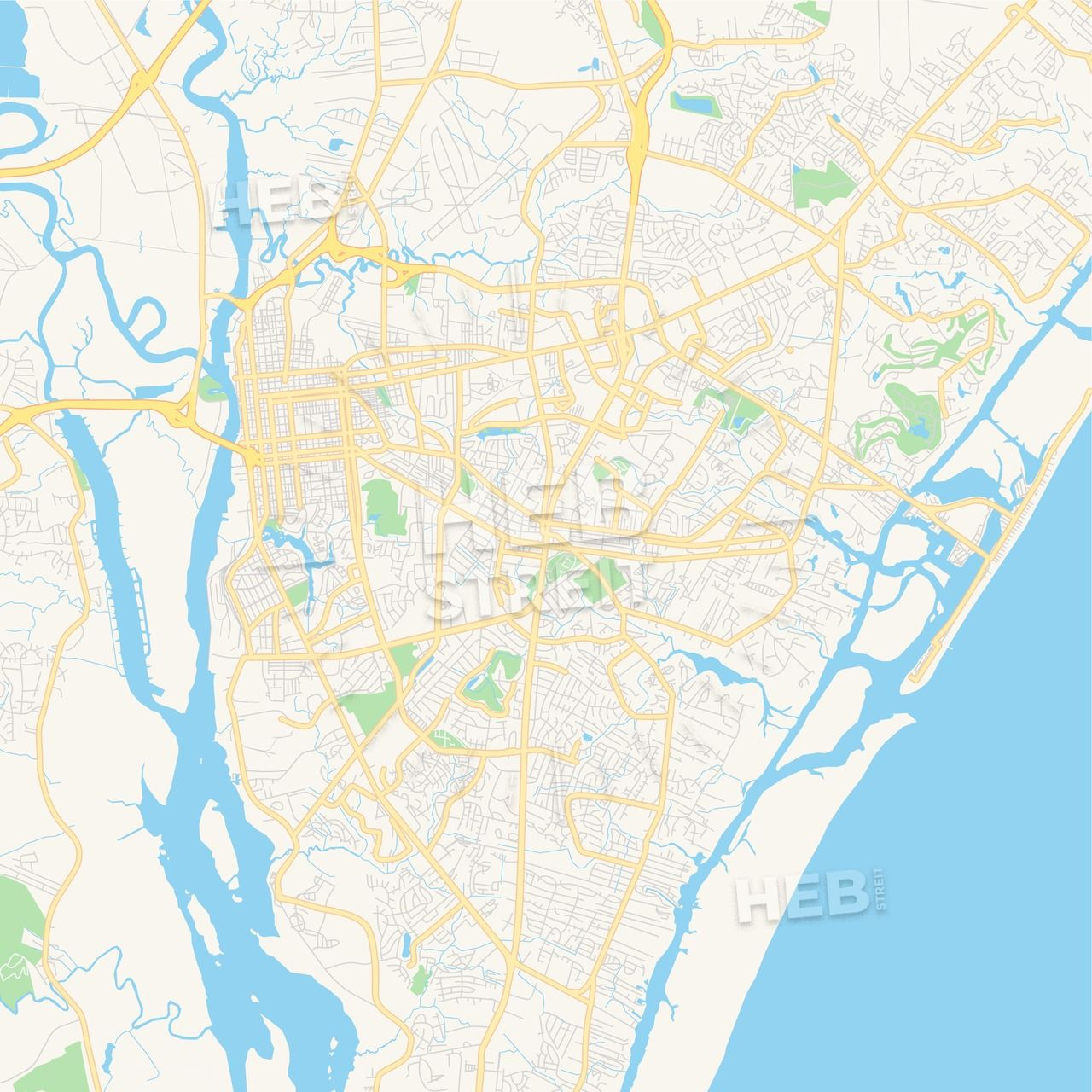Empty vector map of Wilmington, North Carolina, USA | Streit