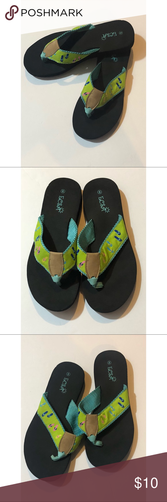 b559630ce08c Bottom is Black with Lime Green and Light Teal top decorated with colorful flip  flops Pre-owned in Good Condition Size 8 ecsa Shoes Sandals