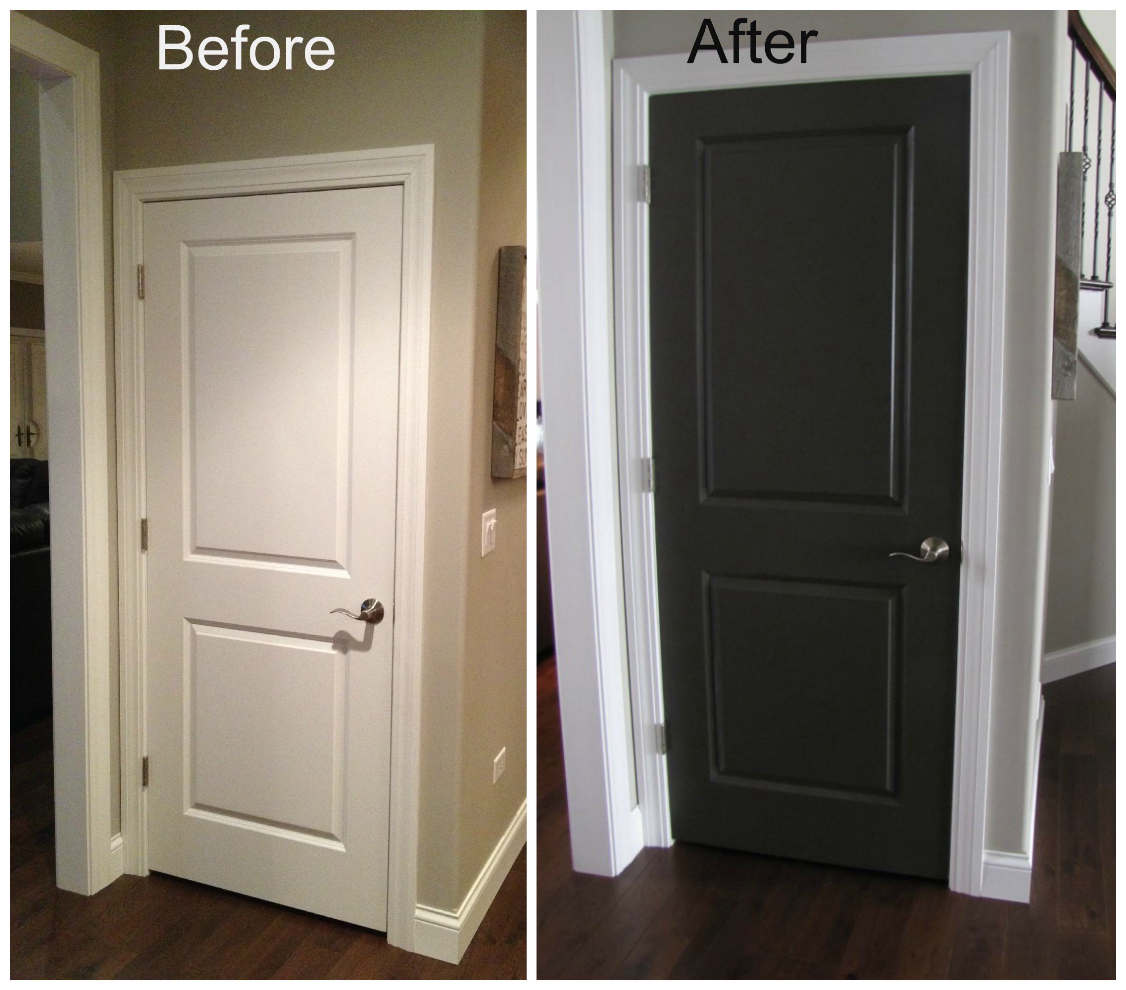 Black interior doors before and after door before and for Interior trim and door color ideas