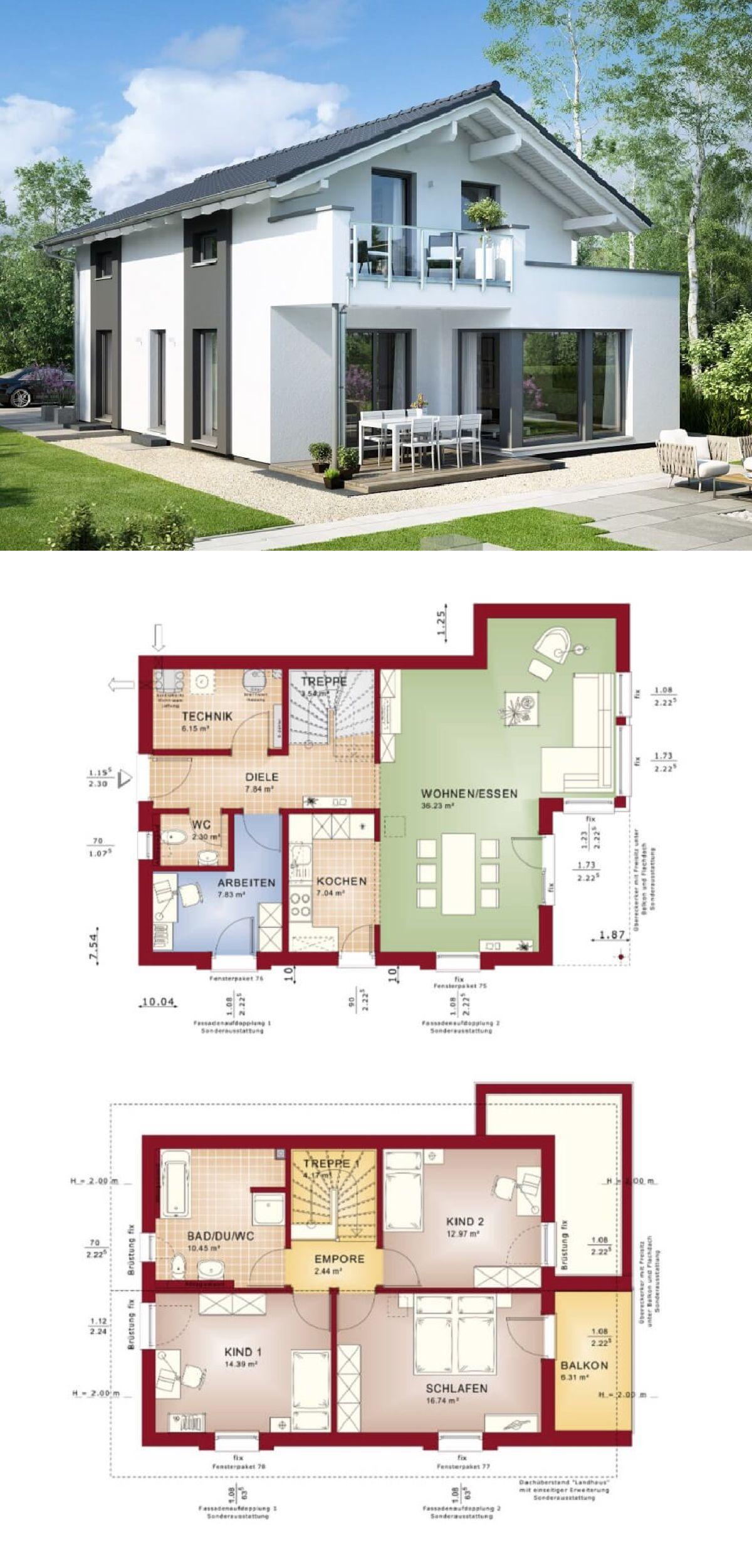 haus modern mit satteldach einfamilienhaus edition 2 v3 bien zenker fertighaus hausbaudirektde - Fertighausplne