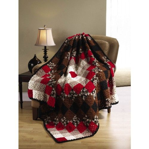 Cali-co Afghan - like the red with white & browns. Simple granny squares in a diamond layout. (Site wants $ 2 for the printed pattern.) #crochet #granny_square #afghan #blanket #throw
