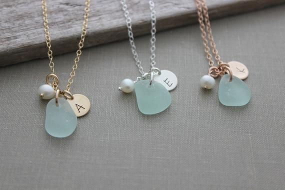 Photo of Genuine sea glass, initial and pearl necklace – Personalized – choice of color 14k gold filled, sterling silver or rose gold fill