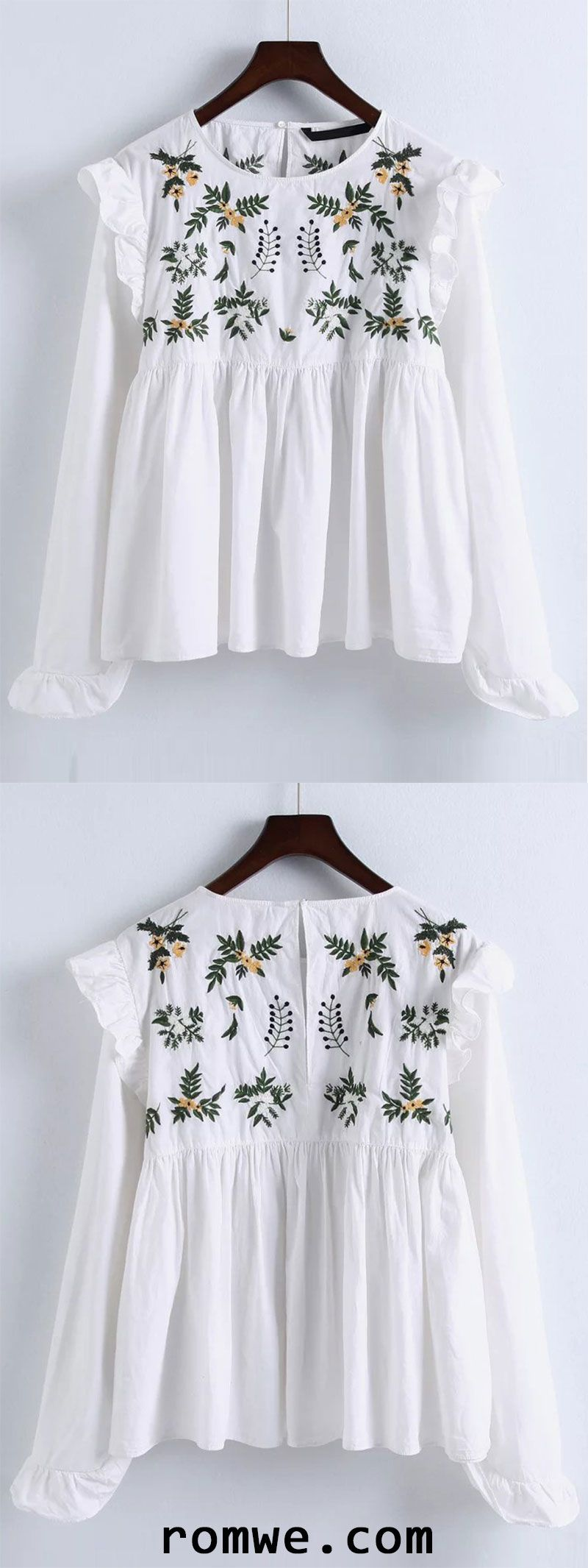 White Embroidery Ruffle Trim Pleated Blouse #whiteembroidery
