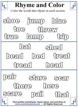 Rhyming Word Coloring Rhyming Words Rhyming Worksheet Words