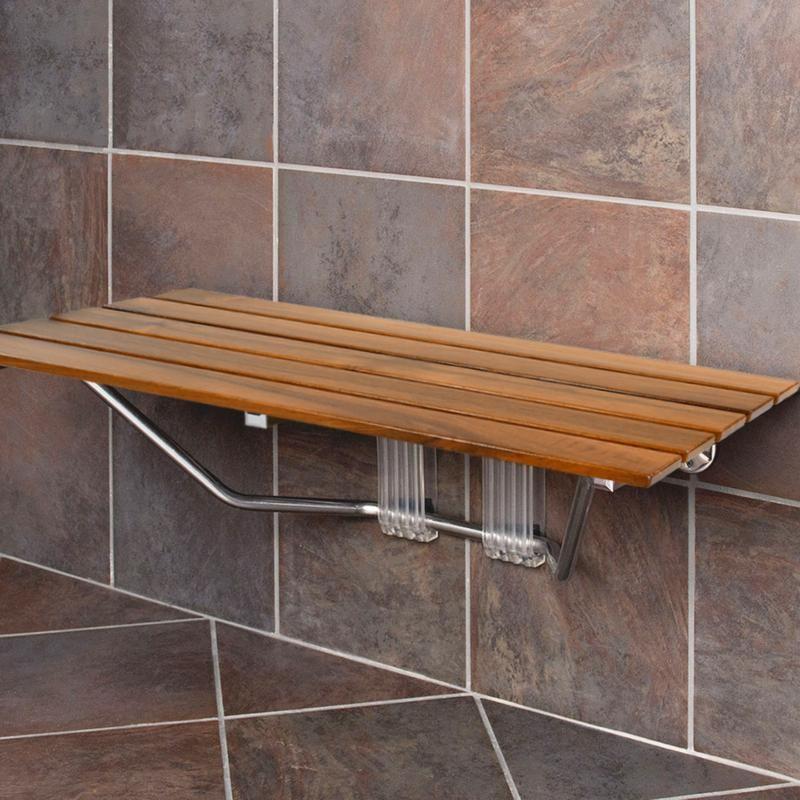 Clevr 36 Ada Compliant Double Seat Teak Wood Folding Wall Shower Benc Crosslinks Teak Shower Bench Wood Shower Bench Shower Bench