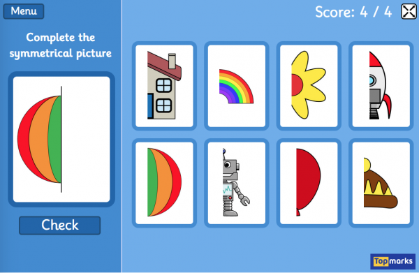 Free reflective Symmetry Matching game Complete the