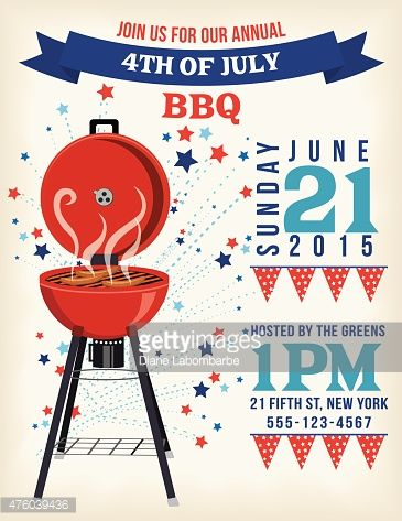 4th Of July BBQ Invitation Template On Red White and Blue Flags