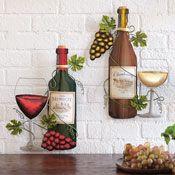 Wine Bottle Metal Wall Art Wine Theme Decorating Wine Wall Decor Wine Bottle Wall Grape Kitchen Decor