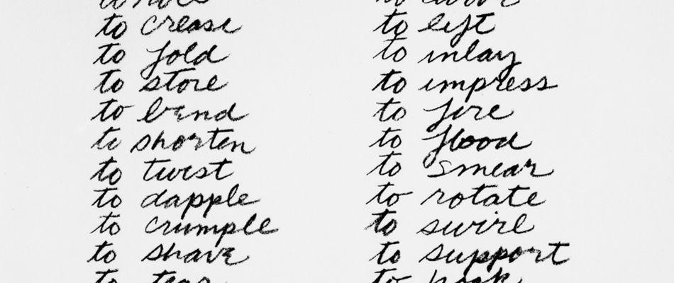 SERRI0013 Verb List 1967-68_arev David Zwirner Gallery - verb list