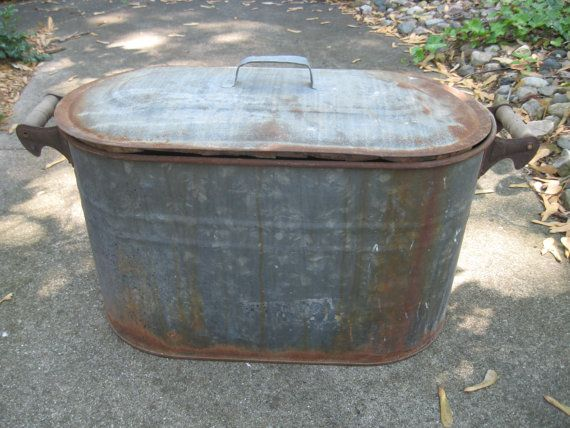 Vintage Galvanized Wash Tub Boiler Canco With Lid And Wooden Handles Farm Fresh Farm Decor Planter Galvanized Wash Tub Wash Tubs Galvanized Tub