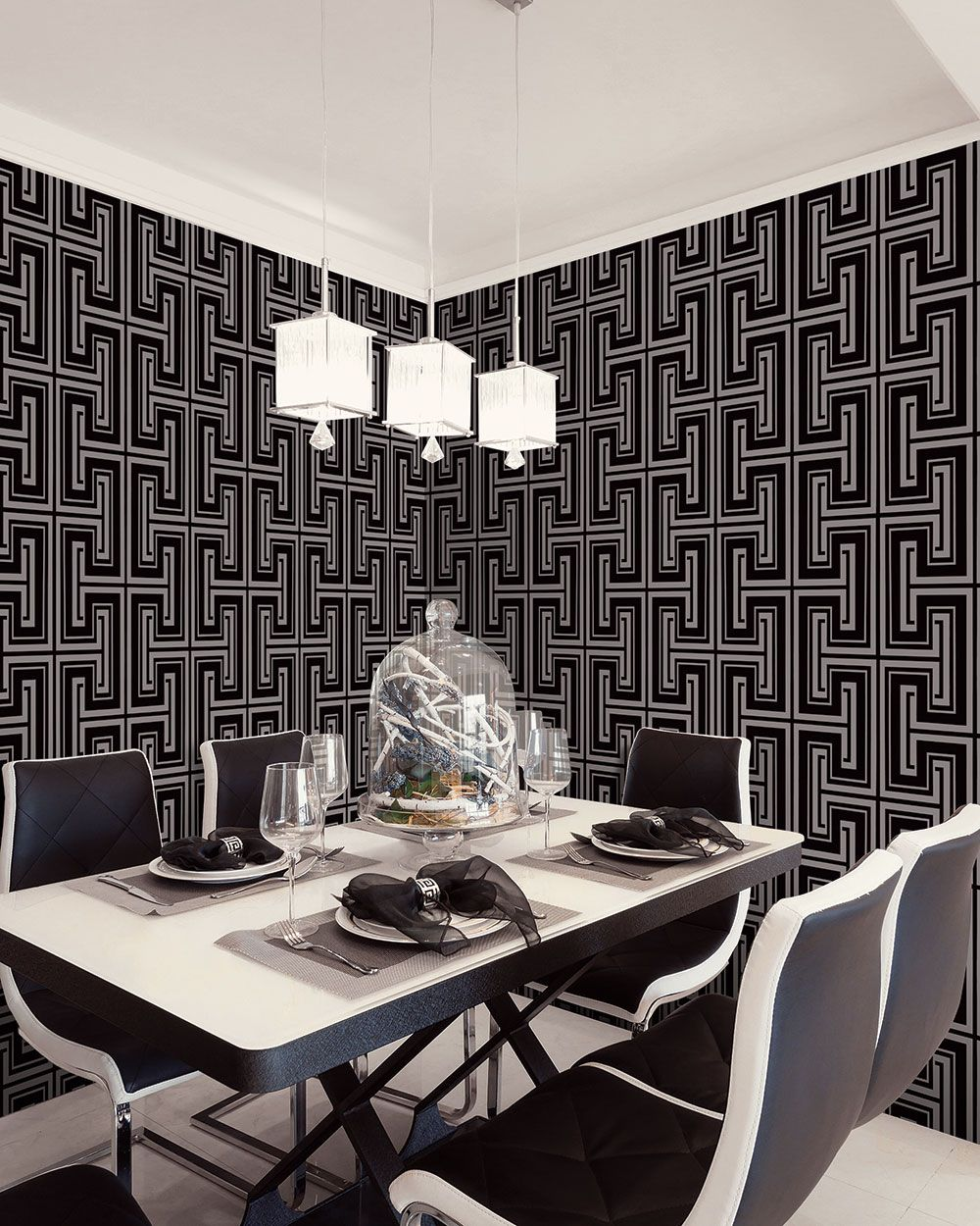 Monochrome and metallic contemporary dining room! | Dining ...
