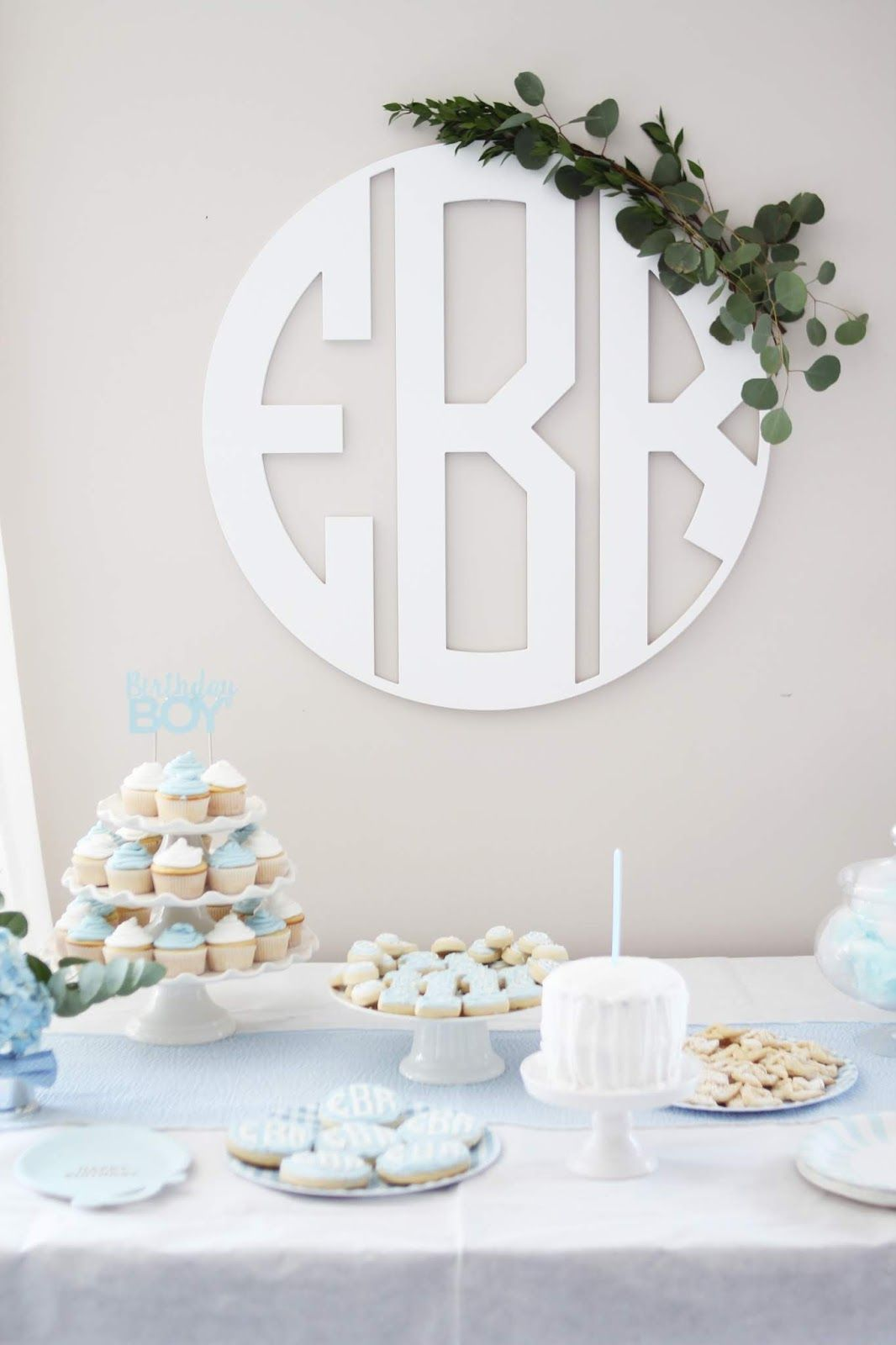Classic Blue and White Little Boy First Birthday Boy